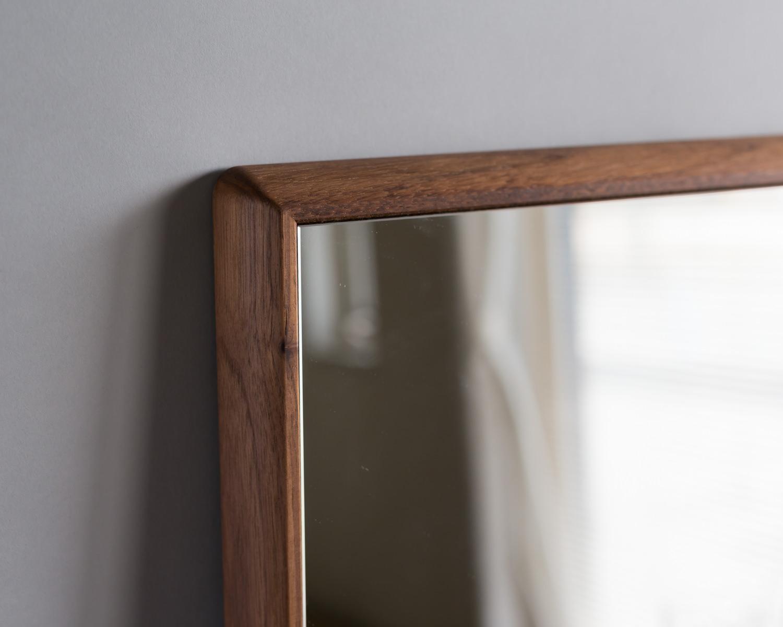 ウォールナット家具美容室鏡壁掛けセンノキミラーおしゃれステラ日本製天然木無垢材北欧木枠